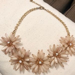 Nude Colored Flower Statement Necklace